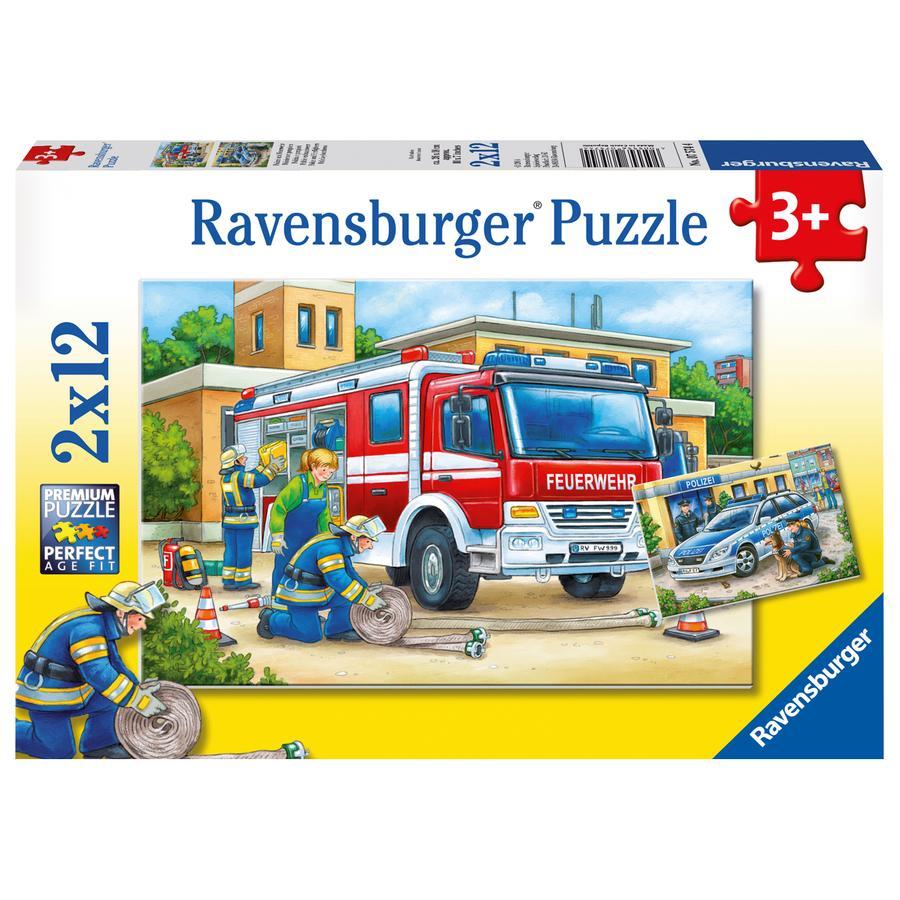 Ravensburger Puzzle 2x12 - Polizei und Feuerwehr