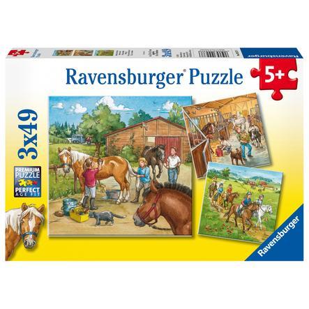 Ravensburger Casse-tête 3x49 - Ma ferme de chevaux