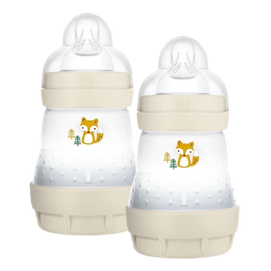 MAM Babyflasche Easy Start Anti Colic-Elements 160 ml Fuchs in beige, 2er Pack