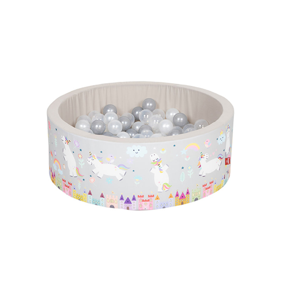 "knorr® toys Bällebad soft - ""Unicorn grey"" - 150 Bälle grau/weiß/transparent"