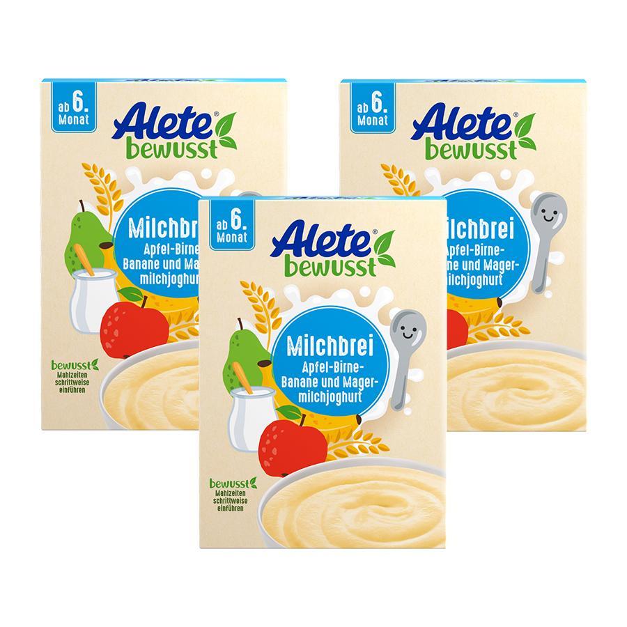 Alete Milchbrei Apfel-Birne-Banane und Magermilchjoghurt 3 x  400 g ab dem 6. Monat