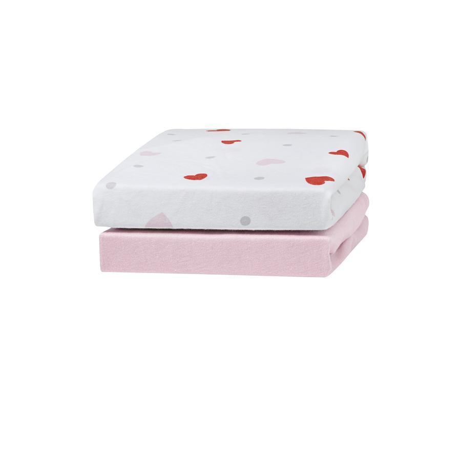 urra Jersey Spannbettlaken 2er-Pack 70 x 140 cm rosa/Herzen rosa