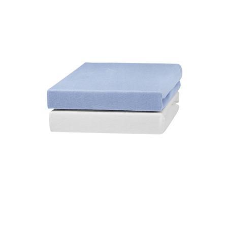 urra Jersey Spannbettlaken 2er-Pack 70 x 140 cm weiß/blau