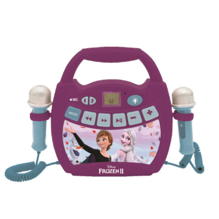 LEXIBOOK Disney Die Eiskönigin - Mein erster digitaler Karaoke Player mit zwei Mikrofonen, LED Lichteffekten, Bluetooth und Akku