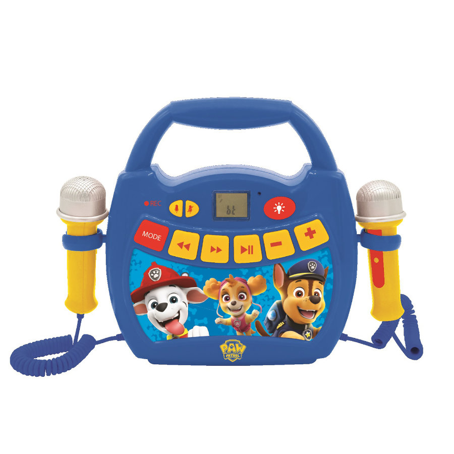 LEXIBOOK Paw Patrol - Mein erster digitaler Karaoke Player mit zwei Mikrofonen, LED Lichteffekten, Bluetooth und Akku