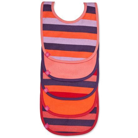 LÄSSIG Slabbetje bib value pack 3-24 maanden, striped multicolour girls, 5 stuks