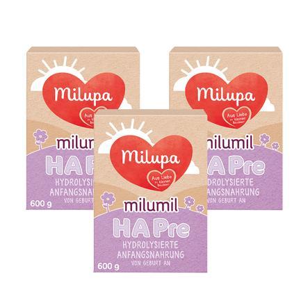 Milupa Milumil HA Pre hydrolysierte Anfangsnahrung von Geburt an 3 x 600g
