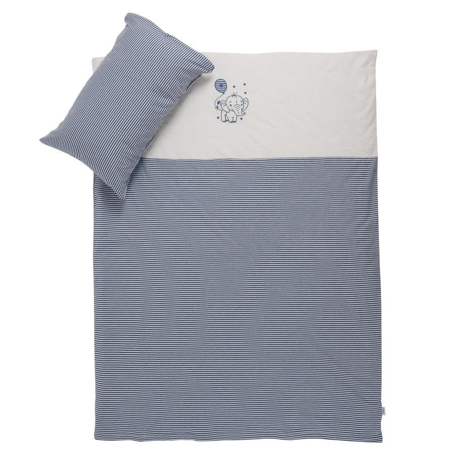 Einel Parure de lit enfant rayures mélange bleu marine 100x135 cm