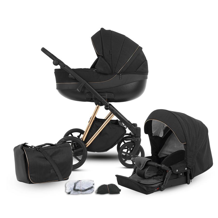 knorr-baby Kombikinderwagen YAP 11-teiliges Set Deluxe Gold Schwarz
