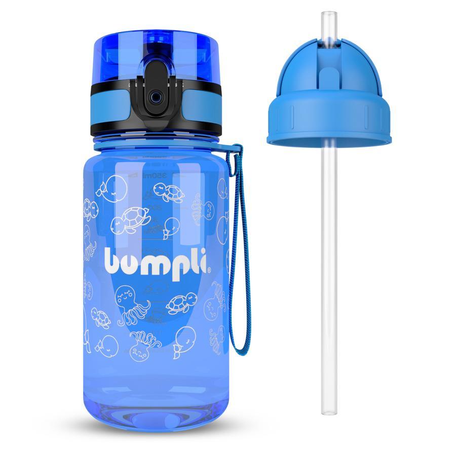 bumpli ® Butelka do picia dla dzieci + dodatkowa pokrywka ze słomką niebieska 350 ml od 3+ lat