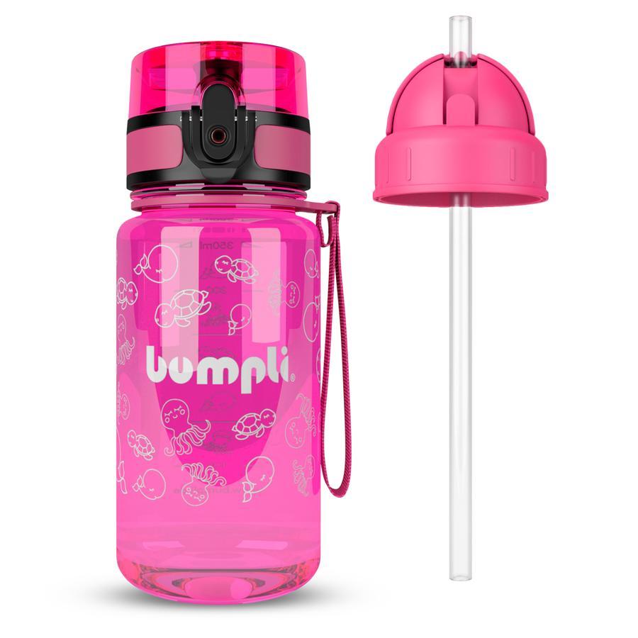 bumpli® Kindertrinkflasche  + Extra Strohhalmdeckel pink 350 ml ab dem 3+ Jahr
