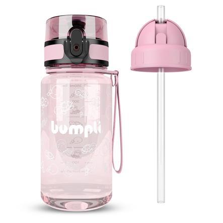 bumpli® Kindertrinkflasche  + Extra Strohhalmdeckel rosa 350 ml ab dem 3+ Jahr