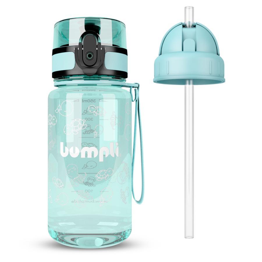 bumpli ® Dricksflaska för barn + extra sugrör lock mint 350 ml från 3+ år gammal