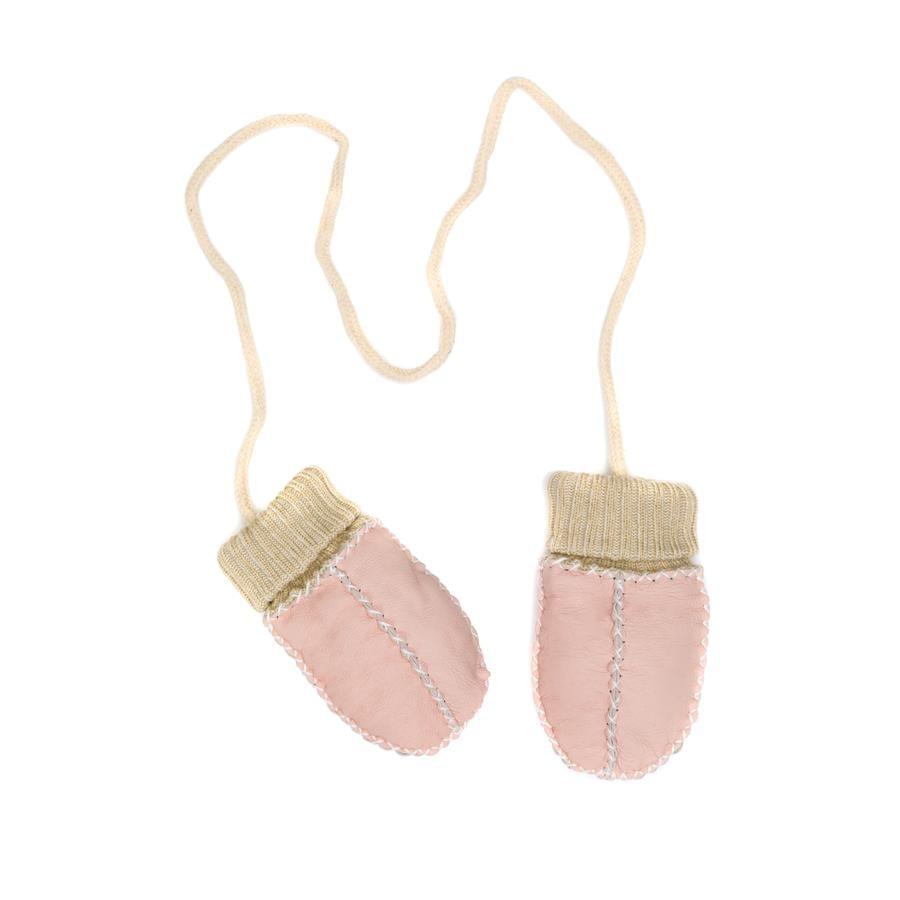 fillikid  Rękawiczki dziecięce z jagnięcej skóry różowe