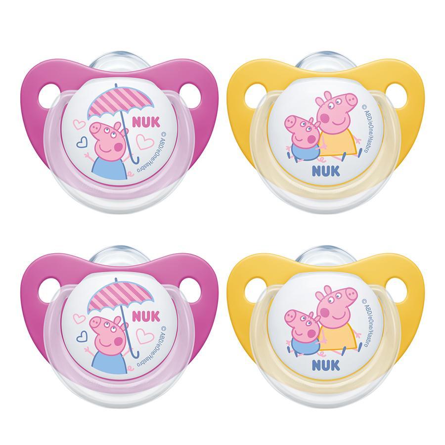 NUK Fopspeen Trendline silicone maat 2 Peppa Pig, 4 stuks in geel/roze