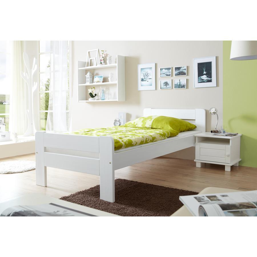 TiCAA Einzelbett Bert 90 x 200 cm Weiß