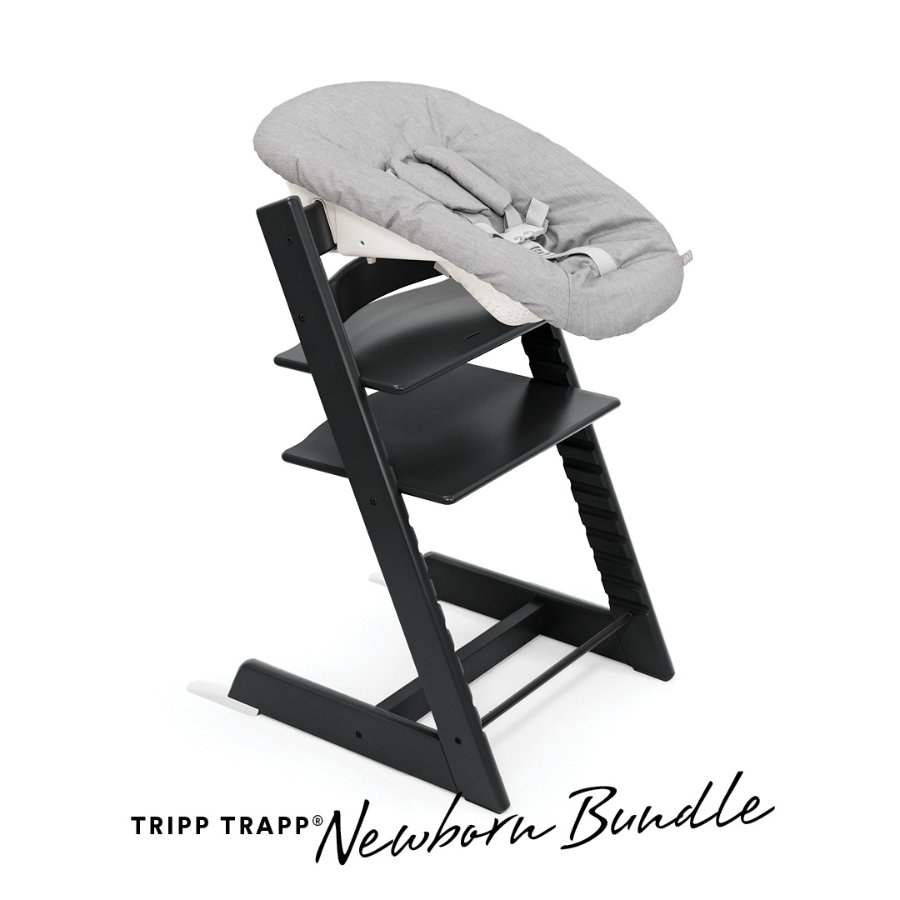 STOKKE® Tripp Trapp® Hochstuhl Buche schwarz inkl. Newborn Set™ Grey