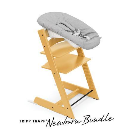 STOKKE® Tripp Trapp® Hochstuhl Buche Sunflower Yellow inkl. Newborn Set™ Grey