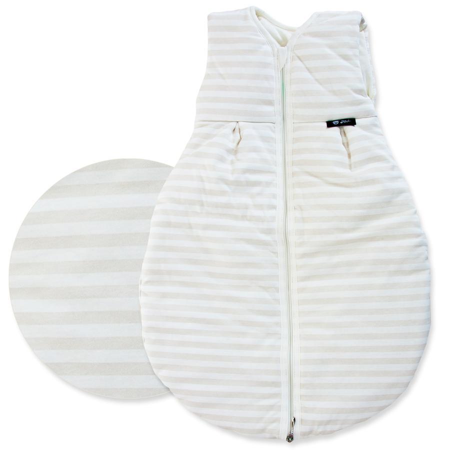 "ALVI Saco de dormir ""Mäxchen Thermo"" - Rayas color beige Talla 90 cm"