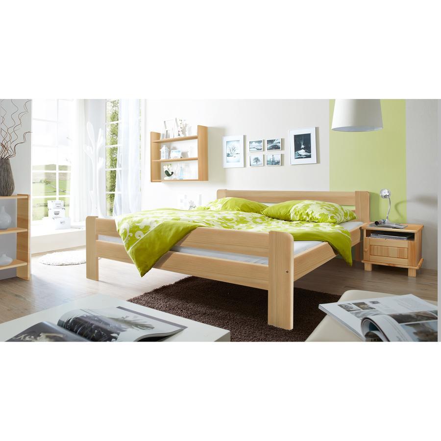 TiCAA Doppelbett Bert 140 x 200 cm Natur