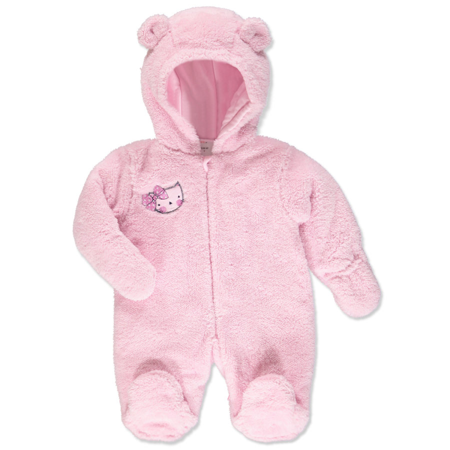 pink or blue Girls Pluche overall met Capuchon Kitty roze