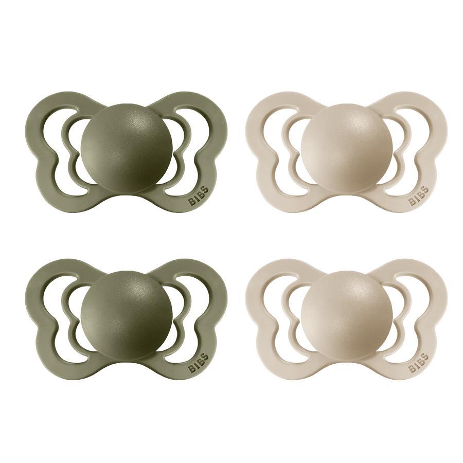 BIBS Sucette Couture Olive/Vanilla silicone 0-6 m, lot de 4