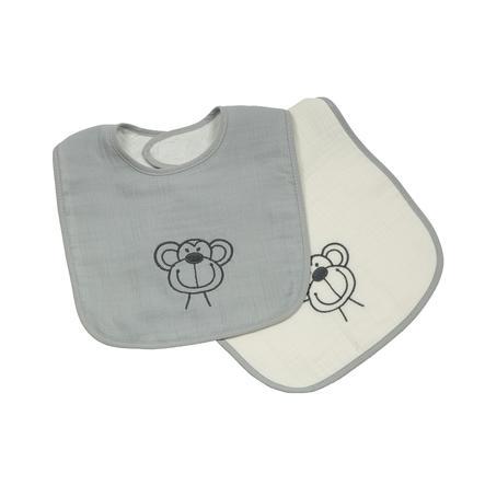 Be Be's Collection Musliini Velcro Ruokalappu 2 -pakkaus apinanharmaa