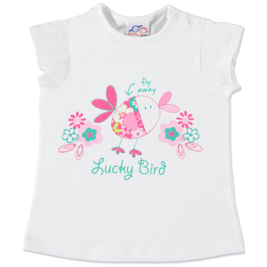 anna & tom Girls Tunika-Shirt Lucky Birds weiß,pink