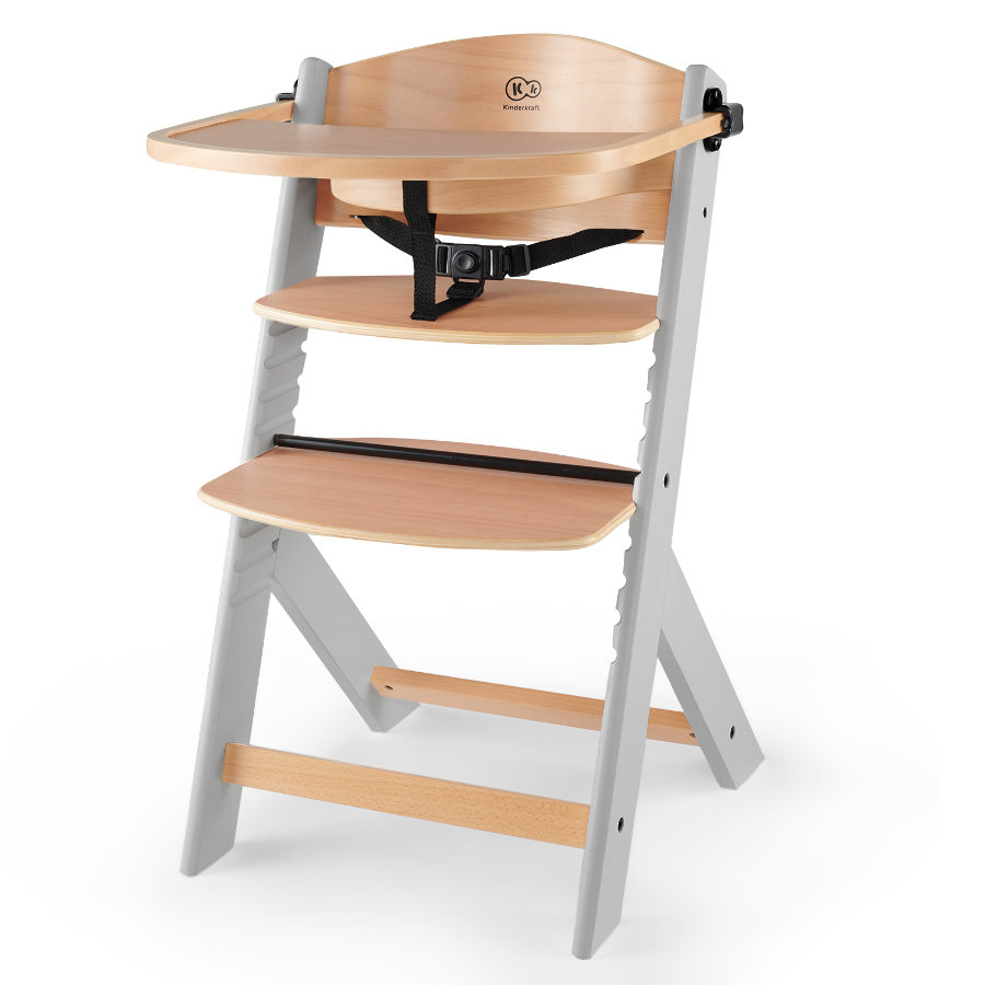 Kinderkraft Wysokie krzesło Enock drewniane szare