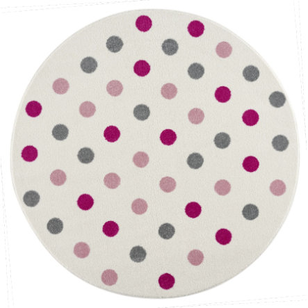 LIVONE Kinderteppich Happy Rugs Confetti Rund Creme Rosa 133 cm