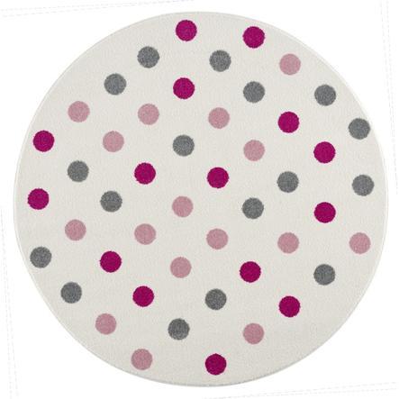 LIVONE Happy Rugs Dywanik dziecięcy Confetti okrągły kremowo-różowy 160 cm