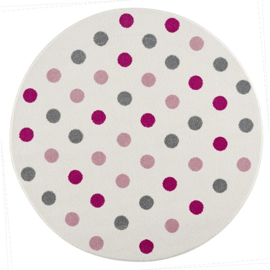 LIVONE Happy Rugs Barnmatta Confetti Round Cream Pink 160 cm