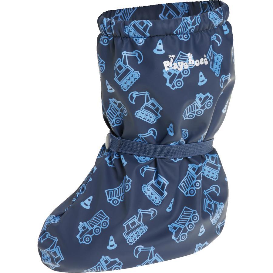 Playshoes Regenfüßlinge mit Fleece-Futter Baustelle marine