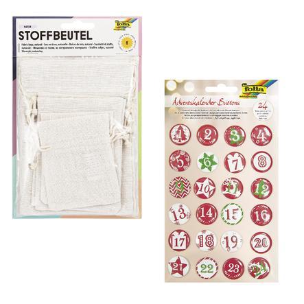 folia Sacs en tissu naturel 24 pièces, set avec boutons