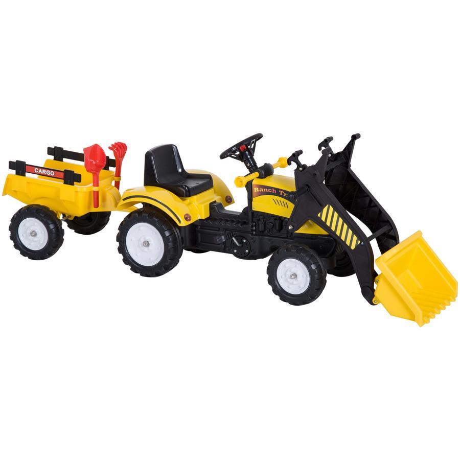 HOMCOM Traktor mit Fontlader und Anhänger schwarz,gelb