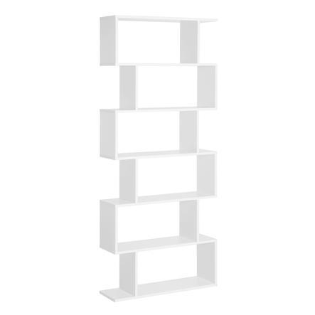 HOMCOM Bücherregal mit 6 Fächer weiß