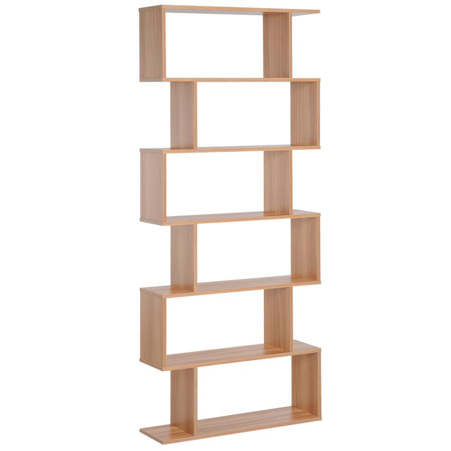 HOMCOM Bücherregal mit 6 Fächer Ahorn