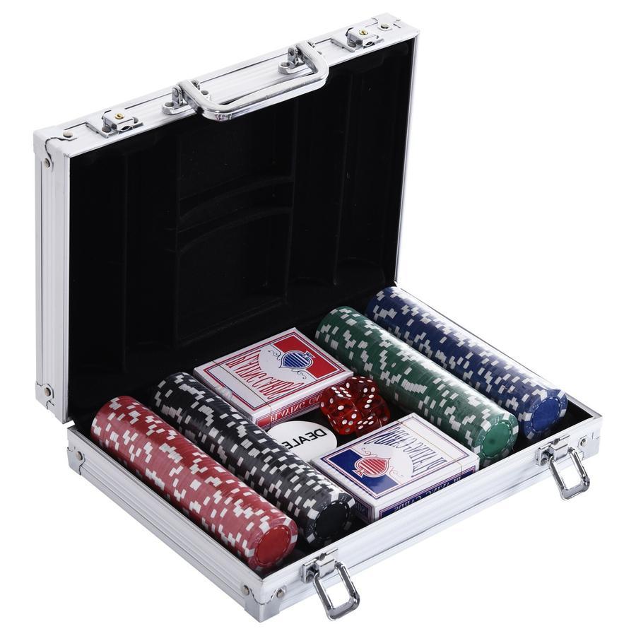 HOMCOM Pokerkoffer mit 200 Chips silber