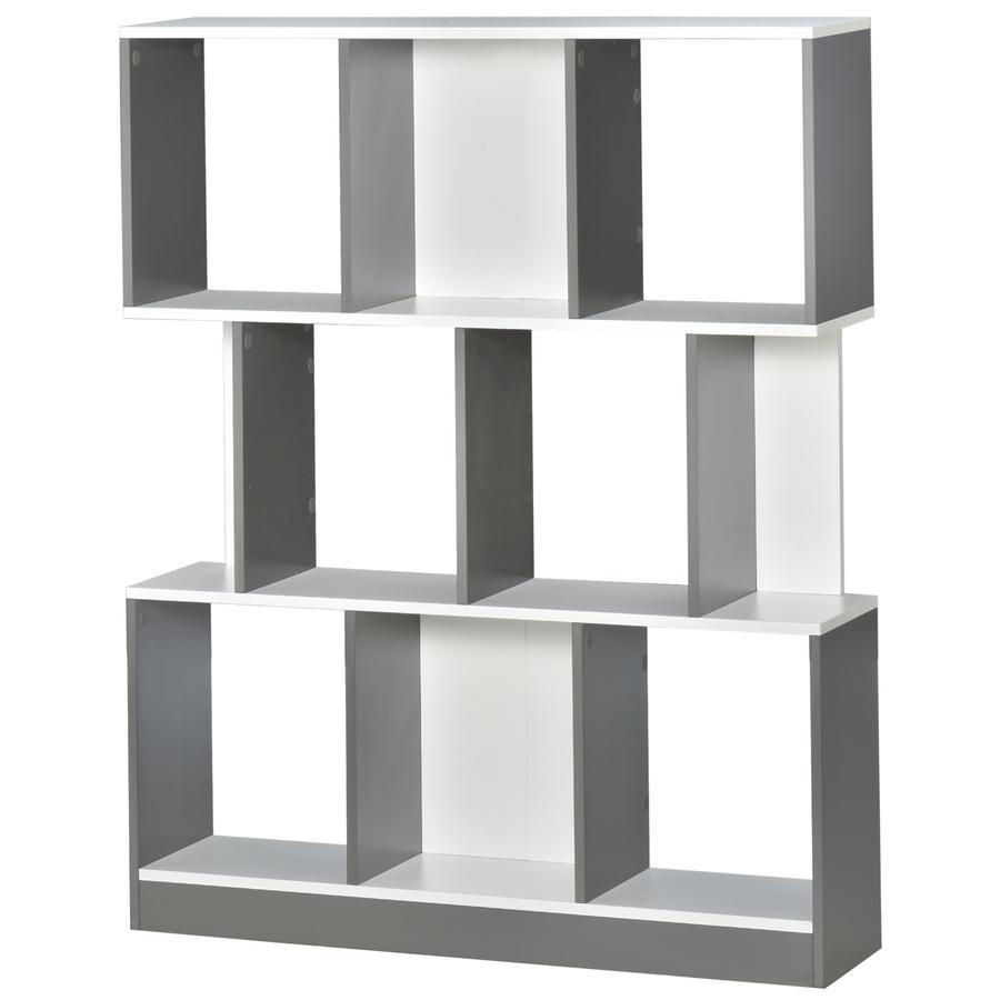 HOMCOM Bücherregal grau/weiß