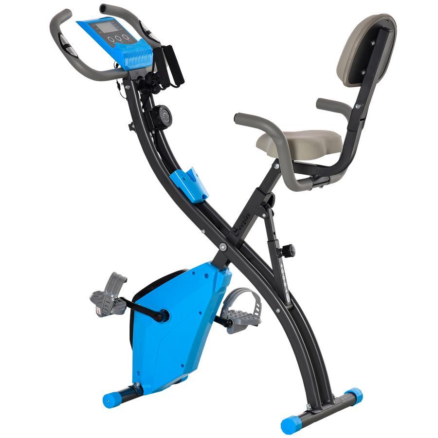 HOMCOM Fahrradtrainer mit LCD Display blau, grau
