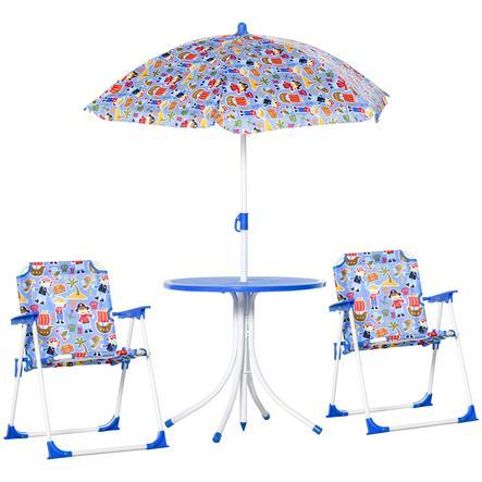 Outsunny Kinder Gartenset mit Sonnenschirm blau