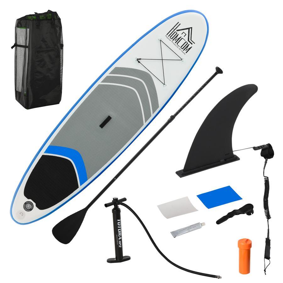 HOMCOM Surfbrett mit Paddel blau, weiß, grau, schwarz