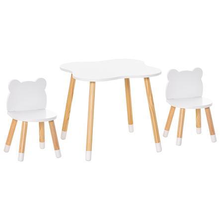 HOMCOM Kindersitzgruppe 3-teilig weiß, naturholz