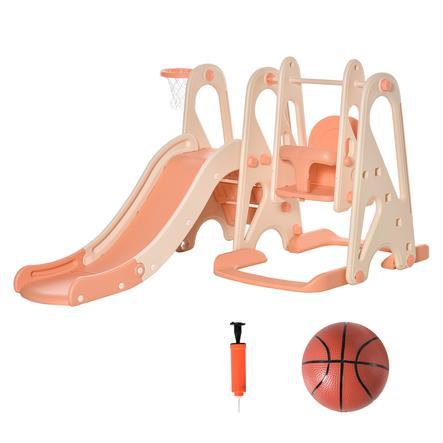 HOMCOM Rutsche mit Schaukel Kinderschaukel im Set rosa und beige