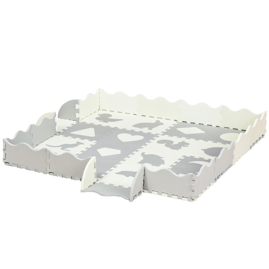 HOMCOM Kinderspielteppich Schützt den Boden, 2-in-1 Design auch als Kinderlaufstall verwendbar Grau, Weiß