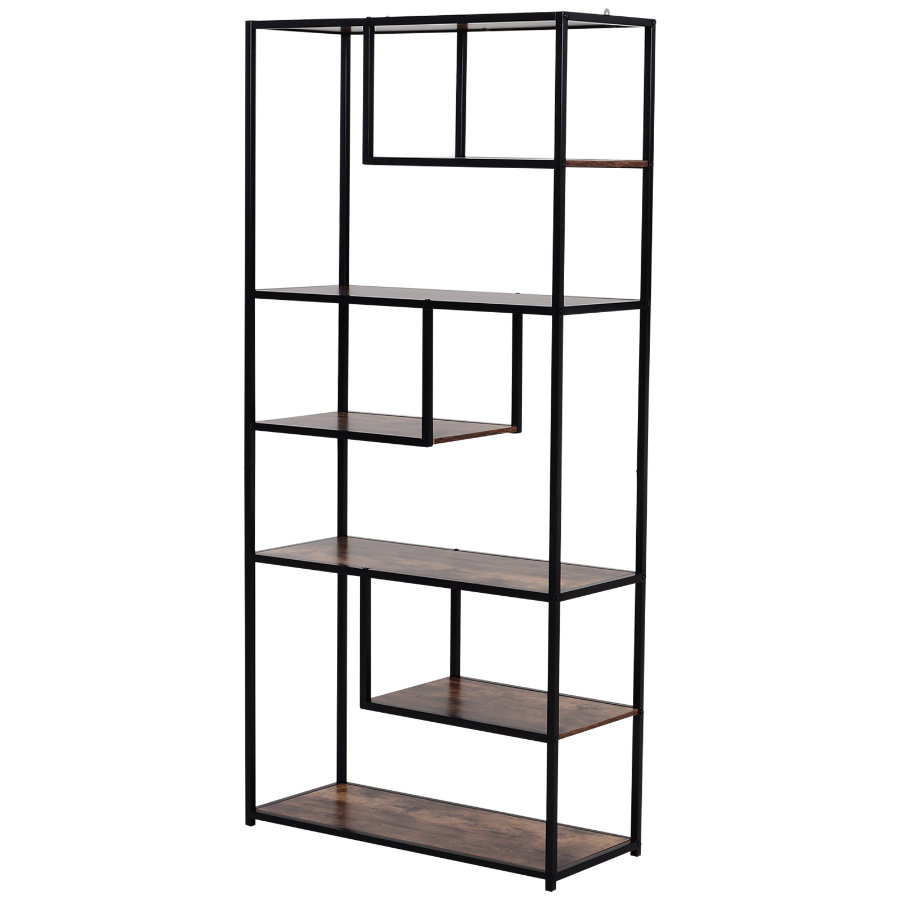 HOMCOM Bücherregal braun, schwarz