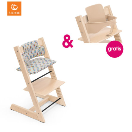 STOKKE® Tripp Trapp® Hochstuhl Buche natur inkl. Classic Baby Sitzkissen  Robot Grey + gratis Baby Set natur
