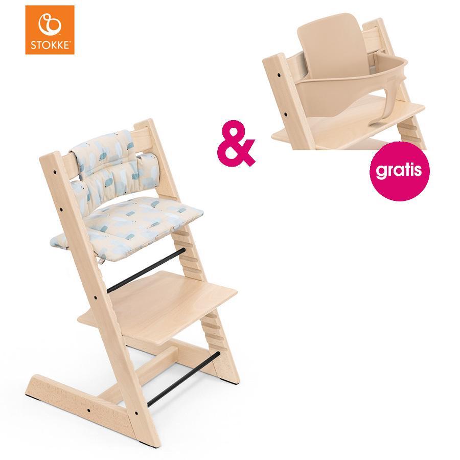 STOKKE® Tripp Trapp® Hochstuhl Buche natur inkl. Classic Baby Sitzkissen Birds Blue + gratis Baby Set natur