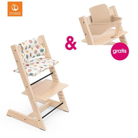 STOKKE® Tripp Trapp® Hochstuhl Buche natur inkl. Classic Baby Sitzkissen  Silly Monsters + gratis Baby Set natur
