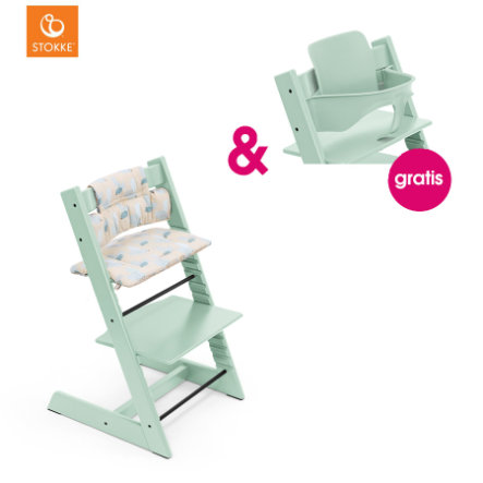 STOKKE® Tripp Trapp® Hochstuhl Buche Soft Mint inkl. Classic Baby Sitzkissen Birds Blue + gratis Baby Set Soft Mint